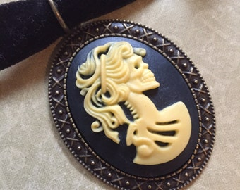 Large Skeleton Woman Cameo Skull Choker Pendant (or Keychain) Unusual Cabochon Lady Silhouette Halloween