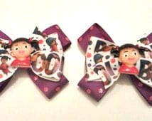 Monsters Inc Hair Bows , Monsters Inc Pigtail Bows , Boo Hair Bow , Boo Pigtail Bows