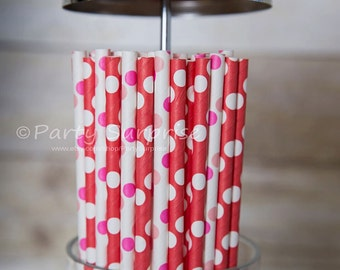 Red Pink Straws Polka Dots Wedding ShowerValentines Birthday Anniversary Minnie Mouse Romantic Drinking Party Paper Straws