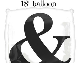 Ampersand Balloon Mr and Mrs Gold and Black Balloons Wedding ENgagement Rehearsal Letter Balloons