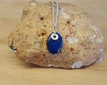 Blue Lapis necklace. Lapis Lazuli pendant. September birthstone. Reiki jewelry uk. Wire wrapped pendant.