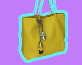 Yellow Leather Tote bag with tassels