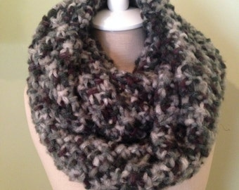 Gray, Black and Tan Infinity Scarf