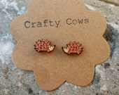 Wooden hedgehog earrings rustic woodland forest - sterling silver posts available