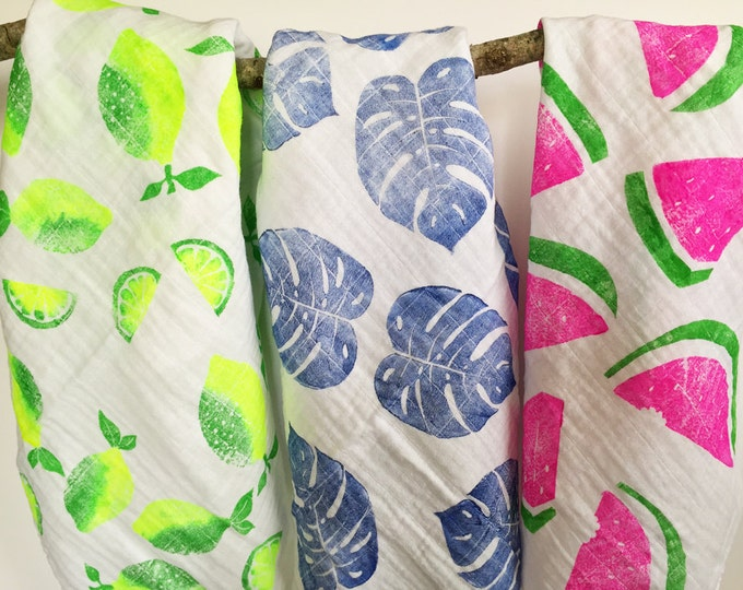 Featured listing image: Set of 3 Baby blankets, Watermelon, Lemons, Leaves, handprinted, tropical swaddle blanket, baby shower gift idea, tropical theme baby shower