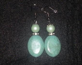 Turqouise Glass Beads Earring set. (Handmade)