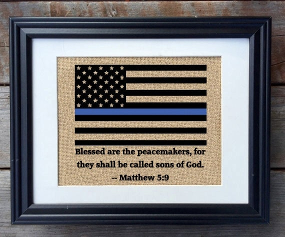 Thin Blue Line Burlap Print Blessed Are The By Milsomade Home Decorators Catalog Best Ideas of Home Decor and Design [homedecoratorscatalog.us]