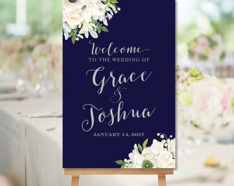 Printable Wedding Welcome Sign Navy Gray White Watercolor Flowers White Floral Welcome Sign Digital Sign pdf jpg The Grace
