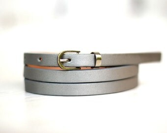 Free shipping! Leather belt, silver belt, waist belt, narrow belt, thin belt, skinny belt, silver womans belt, gift for her