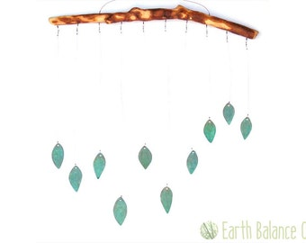 Hanging Mobile, Spring Leaves, Green Verdigris Copper, Home Decor, Metal Wall Art, Woodland, Leafy Green, Kinetic Mobile, Forest Leaves