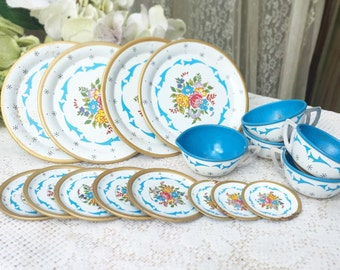 17 pc Mid Century Blue Floral Tin Litho Garden Tea party set, Ohio art, dish Plates, Toy, nursery décor decorative, flower, shabby chic