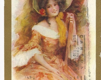 Beautiful Vintage 1909 Glamour Girl Postcard