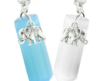 Lucky Elephant Love Couples or Best Friends Crystal Points Sky Blue White Simulated Cats Eye Necklaces