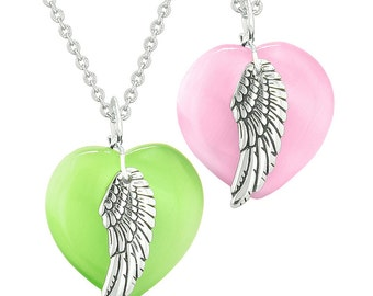 Amulets Angel Wing Hearts Love Couples or Best Friends Neon Green and Pink Simulated Cats Eye Necklaces