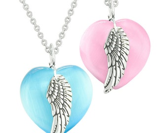 Amulets Angel Wing Hearts Love Couples or Best Friends Pink and Sky Blue Simulated Cats Eye Necklaces