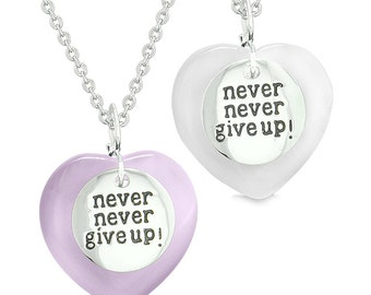Amulets Never Give Up Love Couples or Best Friends Magic Hearts Purple White Simulated Cats Eye Necklaces