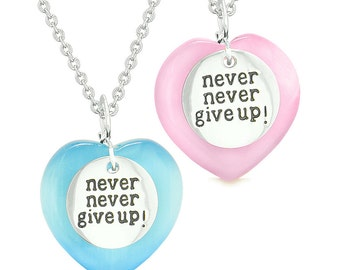 Amulets Never Give Up Love Couples Best Friends Magic Hearts Pink Sky Blue Simulated Cats Eye Necklaces