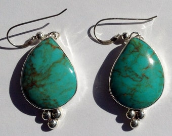 Blue Turquoise Earring With Brown Matrix