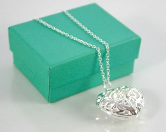 Love Heart Pendant Necklace 925 Silver - Gift Boxed