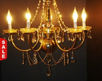 Crystal Chandelier, 5 Arm Crystal Gold Chandelier Upcycled, many Crystal Prisms, Beads,Capodimonte Flowers