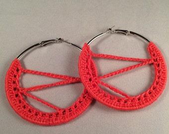 80s Hoops, Crochet Earrings