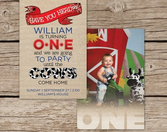 Farm Theme Birthday Invitation, Boy Birthday invitation, Tractor, Farm, John Deere, Theme Birthday, Photo Invitation, Custom, Burlap, Cow