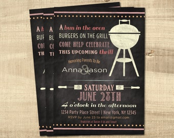 Baby Girl Shower Invitation, Co-ed, Couples Shower, BBQ Baby Shower, Chalkboard, Custom, Printable, Cookout, Baby-Q Invitation, Pink, Purple