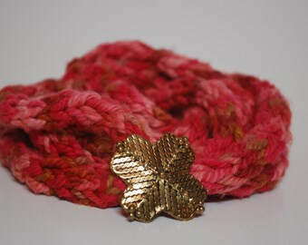 Coral I-Cord Necklace with Decorative Brooch Accent