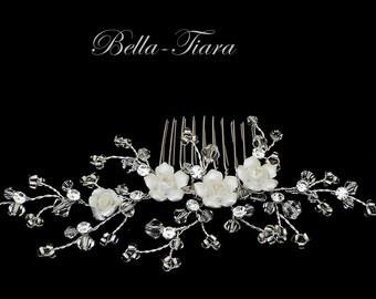 porcelain rose comb, wedding hair comb, bridal hair comb with roses, romantic wedding comb, crystal wedding hair comb, crystal comb
