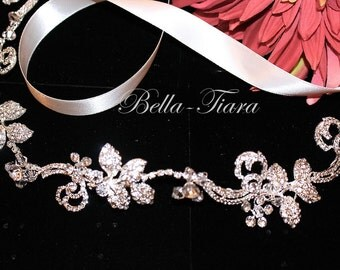 wedding headband halo, wedding halo headpiece, crystal wedding headband, bridal ribbon headband, vine bridal head wrap, wedding hair vine