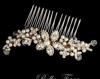 gold champagne bridal hair comb, wedding pearl and crystal hair comb, gold wedding ivory comb, gold wedding hair accessory