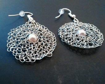 Wire crochet earrings silver