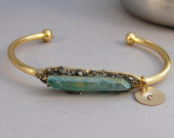 Aqua Druzy Cuff,Gold Cuff,Druzy Bracelet,Druzy Cuff,Green Druzy,Sparkle,Aqua Bracelet,Druzie,Druzy,Drusy,Personalized Bracelet,Initials