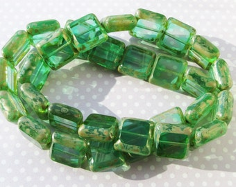 Czech Table Cut Square Windown Emerald Green Picasso 15mm Glass Beads pk of 4
