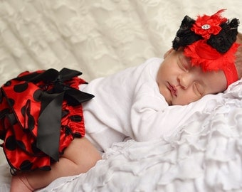 black red Bloomer and headband set, lady bug,red baby headband, Diaper Cover, Ruffle Bum, Newborn Headband Set - white redbaby photo outfit