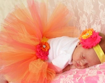 Hot Pink Yellow and Orange Double Layer Tutu