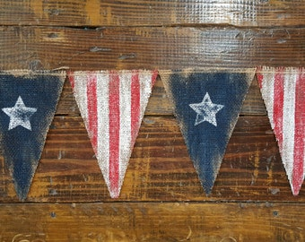 Distressed American Flag Burlap Banner, 4th of July Banner, Flag Banner, USA Banner, Welcome Home Sign, Grungy Primitive USA