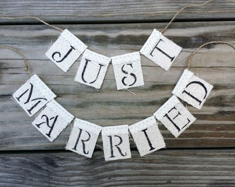 Rustic Just Married Cake Topper, Wedding Cake Banner, Shabby Wedding Cake Centerpiece, Cake Garland, Rustic Wedding Decor