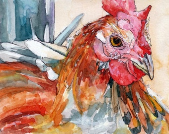 "Rooster Painting - Print from my Original Watercolor Painting, ""Rooster"", Chicken, Farm Animal, Red Rooster, Rooster Decor, Chicken Decor"