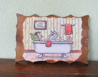 Fathers Day gag gift, Dad in a bathtub, Man with a mustache, mustache dad, Dad reading newspaper in tub, Home sweet Home