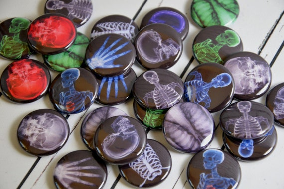"""20 X-Ray Pin Back Badges, 1"""" Pinbacks, Skeleton Buttons, Halloween Party Favors, Radiology"""