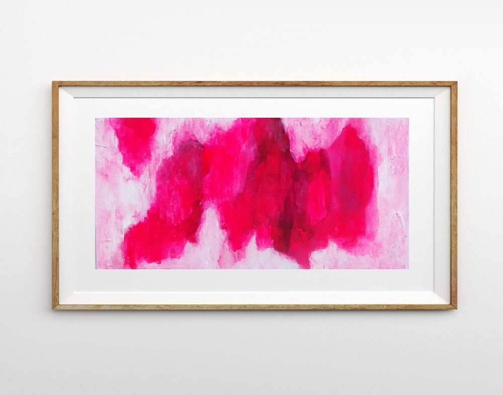 Abstract Painting Neon Pink Canvas Art Original Wall Art