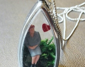 Romantic woman waiting for love necklace miniature globe diorama terrarium shadowbox