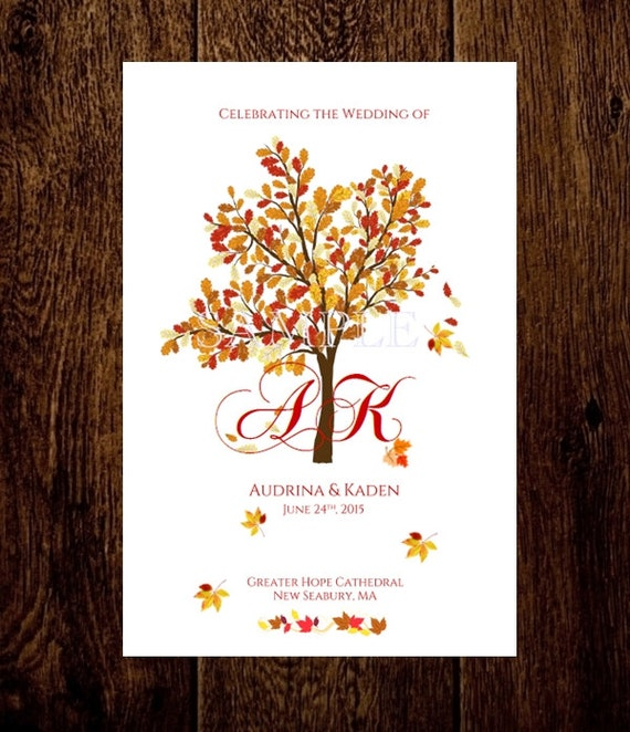 autumn wedding program template folded fall by babieslove2party. Black Bedroom Furniture Sets. Home Design Ideas