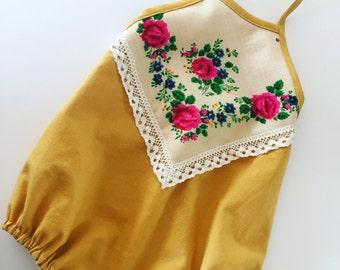 Boho halter baby romper, vintage Ukranian textile, mustard linen