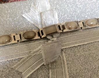 Vintage Signed Inoue Tokyo Sterling & Agate Bracelet