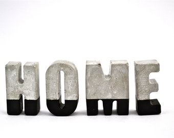 Concrete 'HOME' Letters