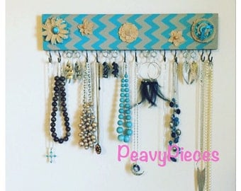 Necklace hanger, Jewelry organizer, jewelry display, wood jewelry holder, jewelry storage, earring display, necklace display, jewelry hanger