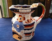 "Large 7"" Ironstone China - Gaudy Welsh Jug With Dragon Handle - Bethesda Pattern"