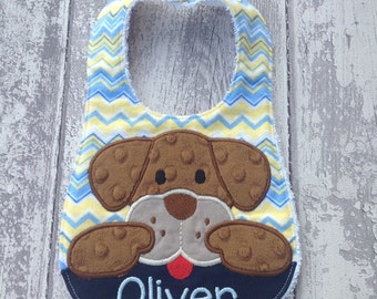 Baby bib dog personalized with name